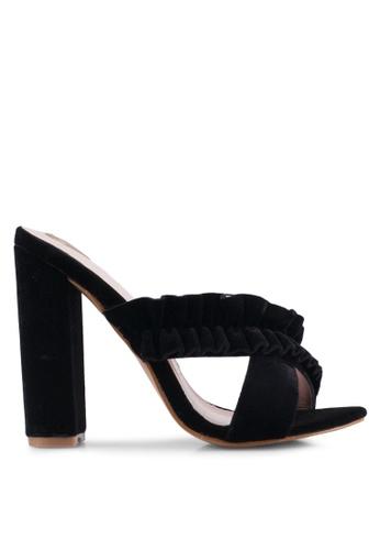 Velvet black Soft Cross Ruffles Heels D78FFSH8291168GS_1