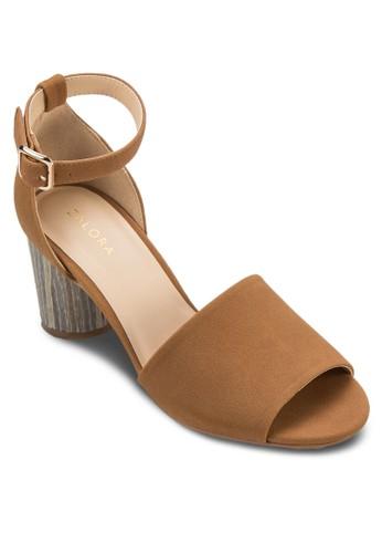 尖頭踝帶圓跟高zalora 包包 ptt跟涼鞋, 女鞋, 細帶高跟鞋