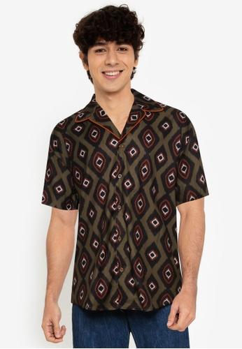 Mennace green Peacock Pattern Revere Shirt B4AE9AA39B6DCCGS_1