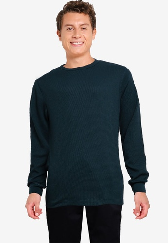 GAP green Waffle Crew Solid Sweater F4AF3AA8577E5DGS_1