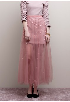【ZALORA】 刺繡透膚紗裙