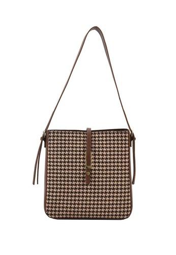 Lara brown Women's Houndstooth Leather Zipper Square Shoulder Bag - Brown B9C8EAC6C1C29FGS_1