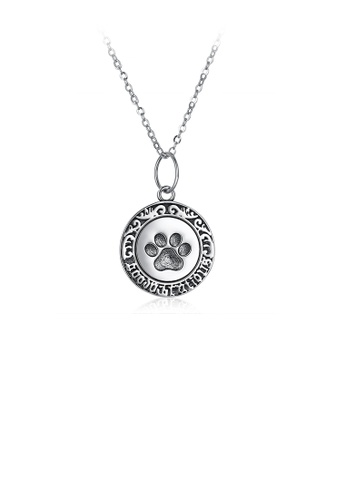 Glamorousky silver 925 Sterling Silver Retro Fashion Round and Footprint Pendant and Necklace DC0C6AC3F4A3F5GS_1