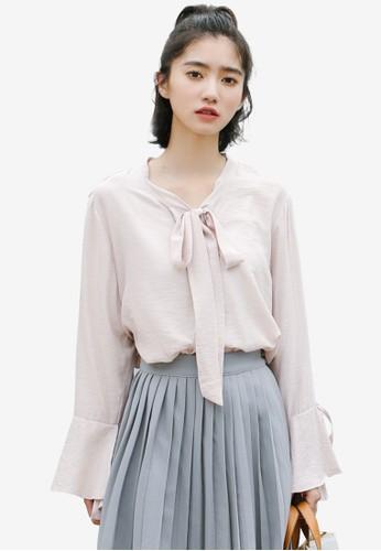 Shopsfashion pink Tie A Bow Ruffle Blouse B7DD5AA96998DDGS_1