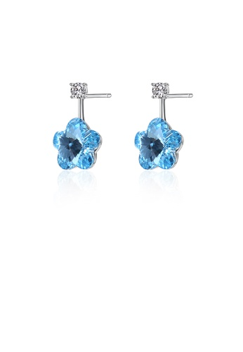 Glamorousky blue 925 Sterling Silver Flower Earrings with Blue Austrian Element Crystal 9A8FBAC2B33829GS_1