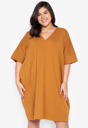 Kris Curve brown Plus Size Kayla Boxy Dress D3E2AAA3301AFEGS_1