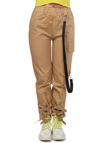 London Rag beige Beige Buckled Ankle Track Pants 297CCAAEC9A88EGS_1