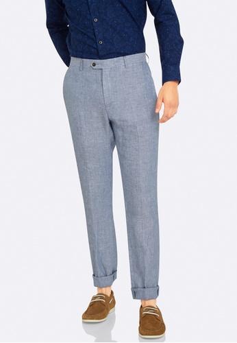 Oxford blue Marlowe Linen Trouser OX512AA0HB2YSG_1