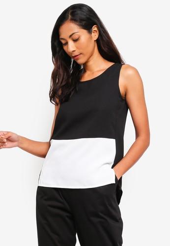 ZALORA BASICS black and white and multi Basic Sleeveless Double Fold Top 122D0AA924782CGS_1