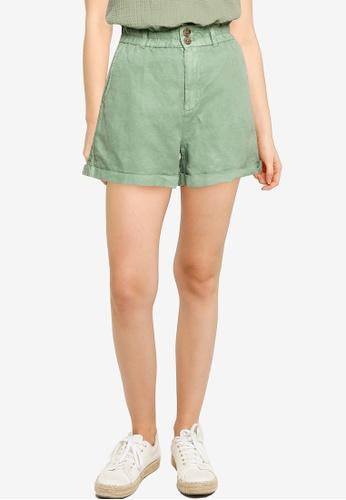 GAP green Hr Linen Paperbag Short B86F0AAFEBC3CEGS_1