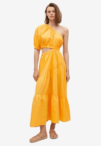 Mango orange Vent Cotton Dress 38C3BAA267B7BFGS_1