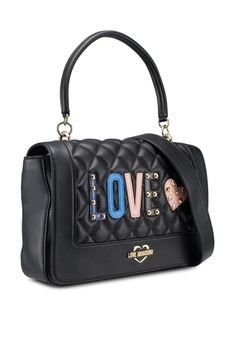 Love Moschino Quilted Top-Handle Bag With Decorative Patches RM 1,439.00.  Sizes One Size 52a7f3be25