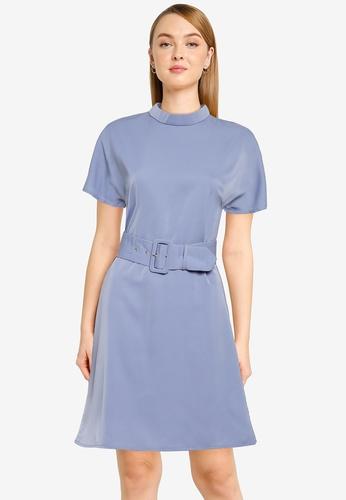 ZALORA WORK blue High Neck Shift Dress 24218AAE1F7C00GS_1