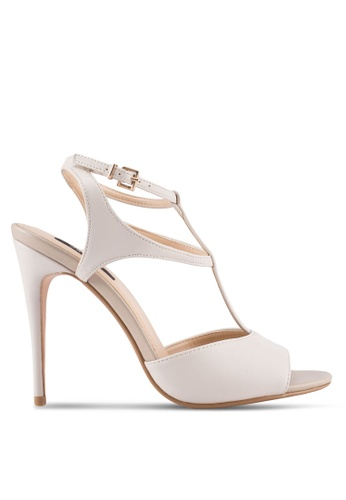ZALORA beige T-Strapped Detail High Heels 47317SHE06F14CGS_1