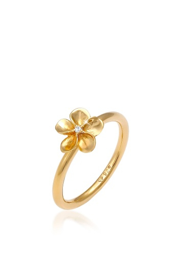 ELLI GERMANY white and gold Frangipani Zirconia Crystal Ring 2C503AC31821EBGS_1