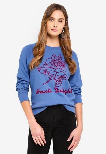 J.Crew blue Hearts Delight Sweatshirt 05CBAAA9F73AEFGS_1