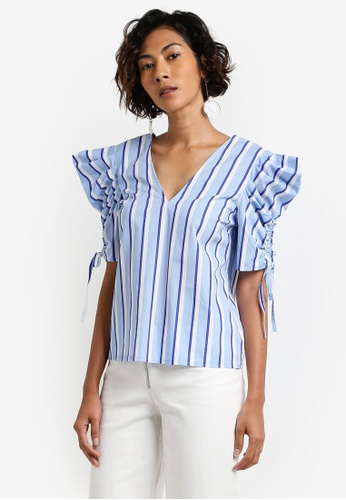 Miss Selfridge multi Stripe Mutton Sleeve Top MI665AA0RCJGMY_1