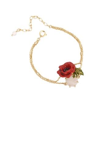 Glamorousky pink Fashion and Elegant Plated Gold Enamel Rose Pink Cubic Zirconia Bracelet 95EADACEC560C7GS_1