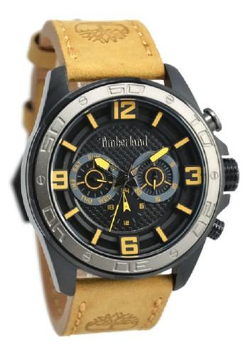 Timberland Jam Tangan Pria Kuning Hitam Leather Strap TBL14814JSBU-02