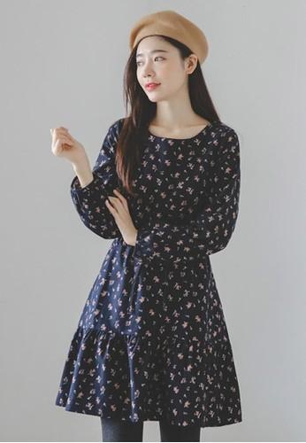 加絨碎花連衣裙, 服飾zalora時尚購物網評價, 短洋裝