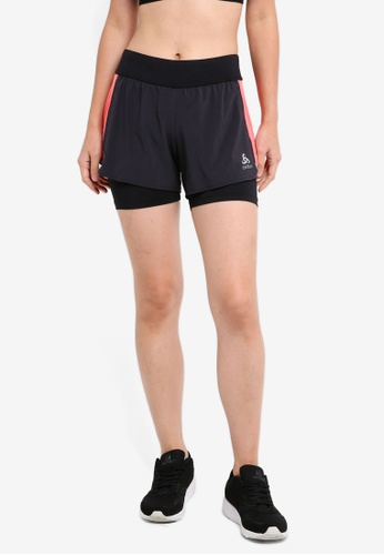 Odlo black Zeroweight Ceramicool 2-In-1 Shorts 55F41AAD427CD6GS_1