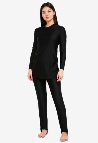 PINK N' PROPER black Modest Saloma Muslimah Swimwear Set 12E49USCEF1A34GS_1