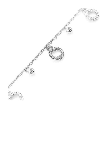 Glamorousky silver Simple Circle Anklet with Silver Austrian Element Crystals 9D1DBACA12B7B8GS_1