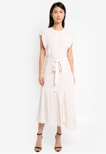 TOPSHOP white Cutabout Stripe Midi Dress TO412AA0SZ6GMY_1