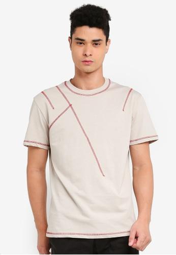 SPARROW GREEN beige Stitch Oversized T-Shirt A5EE8AA1B93EBBGS_1