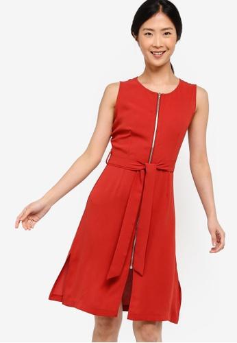 ZALORA BASICS orange Basic Zip-Up Dress With Waist Tie 74FEBAAA1EFC0AGS_1