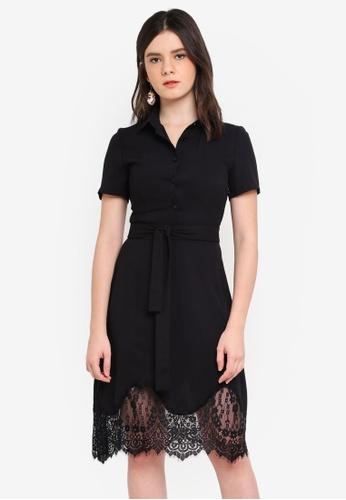 ZALORA black Lace Hem Shirt Dress C6486AAE519657GS_1