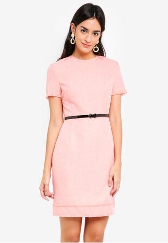 ZALORA pink Tweed Dress 99095AAC4879E2GS_1