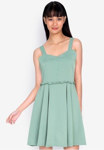 ZALORA BASICS green Sweetheart Neckline Mini Dress 8890EAA43F183FGS_1