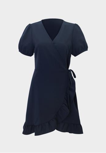 Pomelo blue Frill Hem Wrap Dress - Navy 28EDDAA3CAC988GS_1