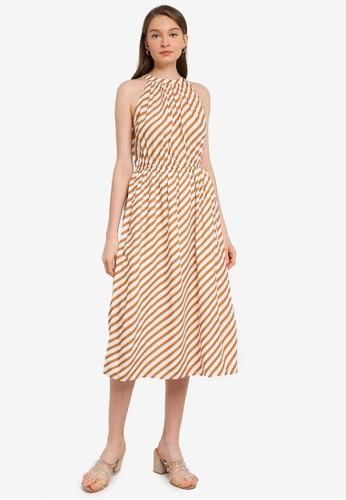Compania Fantastica brown Brown Stripe Midi Dress BE129AAE753754GS_1