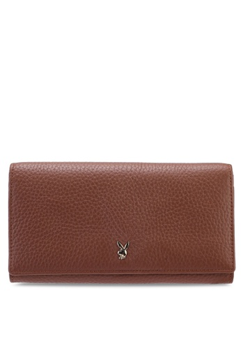 PLAYBOY BUNNY brown Applique Long Wallet B7F59AC1FE608EGS_1