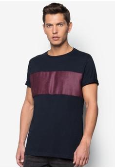 Faux Suede Panel T-Shirt