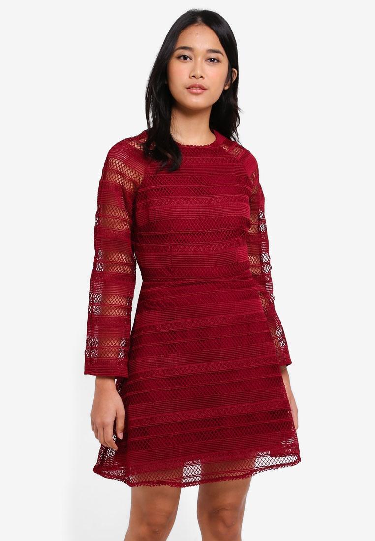 Lace Borrowed Something Dress Sleeve Maroon Flare wqprwZTz