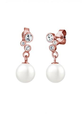 Elli Germany gold Perhiasan Wanita Perak Asli - Silver Anting Drop Mutiara Swarovski® Crystal Lapis Rosegold 31429ACE17C7B0GS_1
