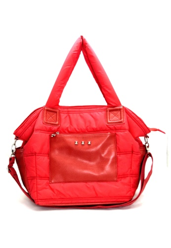 Esther Accessories red Light Nylon Quilted Shopper With Removable Shoulder Strap ES153AC00XLZHK_1