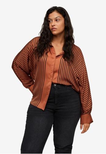 Violeta by MANGO brown Plus Size Satin Striped Shirt 05988AAD0A228BGS_1