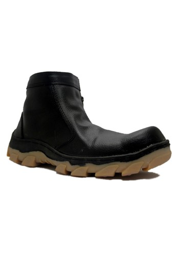 Cut Engineer black Cut Engineer Safety Boots Slip On Genuine Leather Black CU226SH31VUMID_1