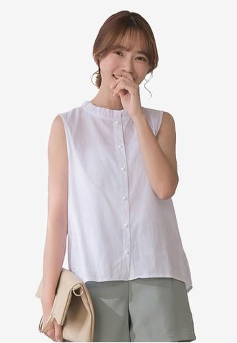 Tokichoi white Ruffle Neckline Button Front Sleeveless Top 90C14AA41B6AD8GS_1
