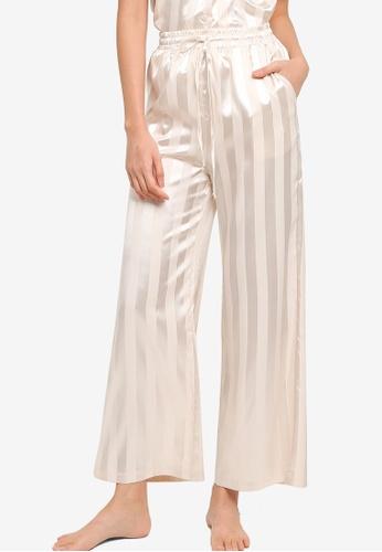 ZALORA BASICS beige Lounge Stripe Long Pants 46C4FAA7C40645GS_1