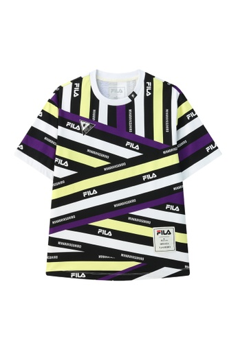 FILA purple FILA x Maison MIHARA YASUHIRO Logo Contrast Color Stripe Cotton T-shirt 4FD99AA52055FEGS_1