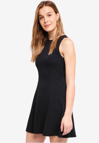ZALORA BASICS black Textured Swing Dress CDA92AA439D90EGS_1