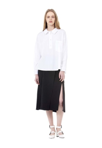 VOV(Voice of Voices) white Asymmetric Collared Shirts A9F70AAF362B27GS_1