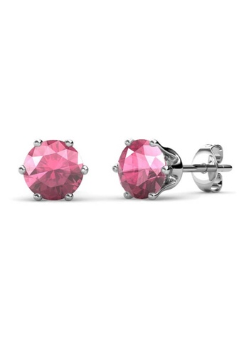 Her Jewellery pink Birth Stone Earrings (October, White Gold) - Made with premium grade crystals from Austria 4929EAC666E9A2GS_1