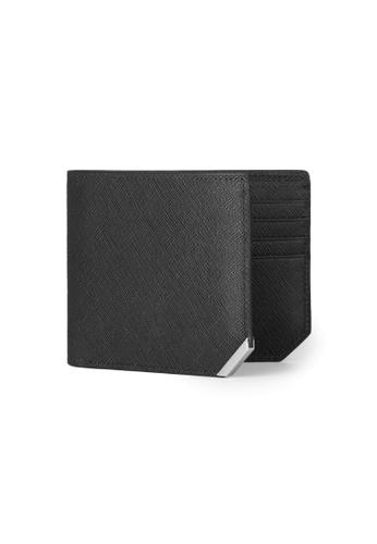 Crudo Leather Craft 黑色 Affilato Edge 輕薄短銀包 - 十字紋黑 (相位間隔) 640D1ACF4BC50CGS_1
