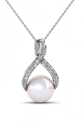Her Jewellery silver Her Jewellery Ribbon Pearl Pendant (White Gold) with Necklace Chain with 18K Gold Plated B1753AC30DEAD8GS_1